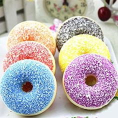 AMA(TM) 1PC Simulation Colourful Doughnut Scented Squishy Squeeze Slow Rising Toys Stress Reliever (Random)