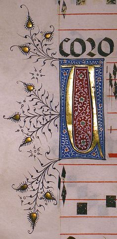 Choirbook, Seville, Spain, c. 1460-90 Need to figure out how to translate the leaf/blossom embellishments into embroidery.......