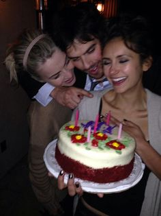 "Nina Dobrev celebrated her birthday with Ian Somerhalder and Julianne Hough on Thursday. ""The Vampire Diaries"" creator Kevi. Vampire Diaries Damon, Ian Somerhalder Vampire Diaries, Vampire Diaries Wallpaper, Vampire Diaries Funny, Vampire Diaries The Originals, Ian Somerhalder Birthday, Nikki Reed, Damon Salvatore, Nina Dobrev Birthday"