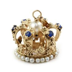 Large 14k Yellow Gold Crown Charm Pendant with Gemstones | eBay