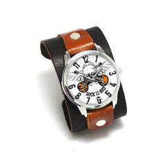 Pride&Bright Rock Star - double color genuine leather cuff watches with soft watch strap and japan movement Wide Leather Belt, Leather Cuffs, Calf Leather, Watch Crown, Watches For Men, Cuff Watches, Star Watch, Nato Strap, Fashion Watches