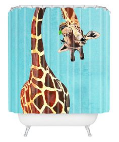 Look what I found on #zulily! Coco De Paris Giraffe With Green Leaf Shower Curtain #zulilyfinds