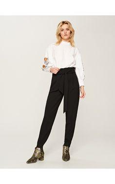 Spodnie z wiązaniem z przodu, Spodnie, jeansy, czarny, RESERVED