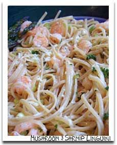 Easy Valentine's Dinner menu with Creamy Linguini with Mushrooms and Shrimp