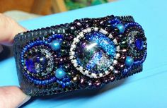 PATTERN Tutorial Bead Embroidery Cuff Bracelet for Cabochon