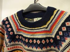 50 ~ 60's Abercrombie & Fitch Snowflake Pattern Wool Sweater