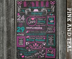 First Birthday Chalkboard Sign Printable / Pink and Teal / DIGITAL / Printable / baby GIRL 1st / Babys First Birthday / Plus FREE Web File via Etsy