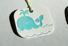 Letterpress Whale Party Favor Tags  set of 6 by WordLetterpress, $6.00
