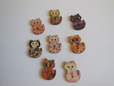 2 CAT HAND PAINTED  WOOD BUTTONS SEWING CRAFT PASTEL FEEDS FERAL CATS RESCUE #CatWoodenHandpaintedButton