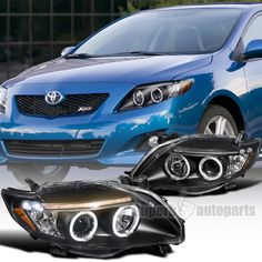 2009 2010 Toyota Corolla Clear Led Dual Halo Projector Headlights Black
