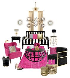 """""""Stripes, Black, Pink, Gold (Living Room Edition)"""" by aedwish on Polyvore featuring interior, interiors, interior design, home, home decor, interior decorating, Stratton Home Décor, Eichholtz, Jayson Home and Tribecca Home Interior Decorating, Interior Design, Pink And Gold, Stripes, Decorations, Interiors, Throw Pillows, Living Room, Polyvore"""