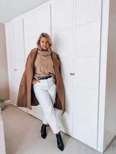 Shop Your Screenshots™ with LIKEtoKNOW.it, a shopping discovery app that allows you to instantly shop your favorite influencer pics across social media and the mobile web. Black Heel Boots, Heeled Boots, Camel Coat, Daily Look, Black Belt, White Jeans, Caramel, Curves, Normcore