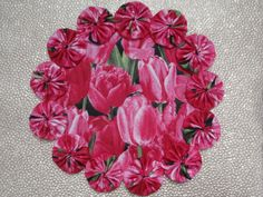 Pink Tulip Doily II by SursyShop on Etsy, $8.00