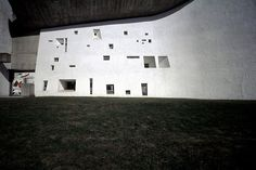 The chapel of Notre Dame du Haut in Ronchamp. 1954. Le Corbusier. (Note: Not an earthen building but these windows would translate to adobe, or cob, even if perhaps at a smaller scale.)