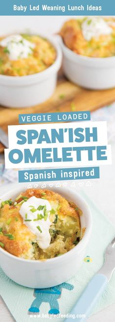 Super Healthy Spanish Omelette that is a perfect baby led weaning recipe. Baby lunch, little omelette with vegetables. Featured image for recipe. Lunch ideas for baby led weaning, kid approved recipes full of vegetables and served with a side of sour cream. #babyledweaning #blw #kidfood #kidfriendly #kidfriendlyrecipe #familyfood #familyrecipe