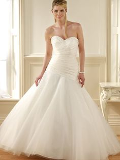 Customer Made Pure White Simple Sweeteart Chapel Train Tulle Satin Wedding Dress For Brides Princess