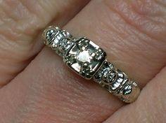 Vintage Engagement Ring: White Gold Ornate