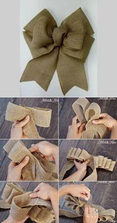 Diy Bow, Diy Ribbon, Ribbon Bows, Handmade Christmas Crafts, Xmas Crafts, Christmas Projects, Burlap Crafts, Burlap Bows, Burlap Lace