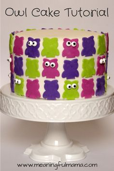 Owl Cake Tutorial Pinned by www.myowlbarn.com
