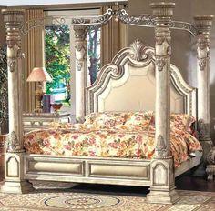 McFerran Home Furnishings - Monaco Canopy Queen Bed in Antique White - B9087-Q