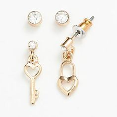 LC Lauren Conrad Gold Tone Simulated Crystal Heart Lock and Key Mismatch Stud and Drop Earring Set at kohls - for Lizz