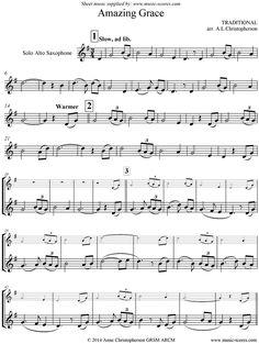 Amazing Grace: Alto Sax: 7 mins sheet music notes by Traditional: Alto Sax - Alto Sax Sheet Music, Violin Sheet Music, Sheet Music Notes, Piano Music, Music Sheets, Partition Saxophone Alto, Partitions Saxophone, Saxophone Notes, Saxophone Music