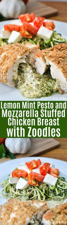 Lemon Mint Pesto and Mozzarella Stuffed Chicken with Zoodles  #ad #FreshisBest http://www.beckysbestbites.com/lemon-mint-pesto-mozzarella-stuffed-chicken/?utm_campaign=coschedule&utm_source=pinterest&utm_medium=Becky%27s%20Best%20Bites%20-%20Healthy%20Recipes&utm_content=Lemon%20Mint%20Pesto%20and%20Mozzarella%20Stuffed%20Chicken%20with%20Zoodles