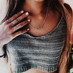 knit crop top & lovely jewelry.