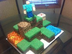 AR15.Com Archive - Minecraft Birthday Cake!!! * Base-frost entire cake with extremely thin layer of frosting, then freeze, so decorator dashes stick.  * Mix several frosting batches with different colors. Buy store-bought milk chocolate and dark fudge frosting; cut with white decorator frosting to get different brown hues.  * Use #46 tip to make little dashes.  * Decorate green balloons with black electrical tape to make creepers.