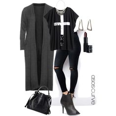 A fashion look from October 2014 featuring Manon Baptiste cardigans, H&M t-shirts and ASOS jeans. Browse and shop related looks. Older Women Fashion, Curvy Fashion, Plus Size Fashion, Womens Fashion, Fashion Edgy, Fashion Top, Gothic Fashion, Fashion Styles, Outfits Blanco