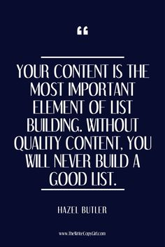 'Your content is the most important element of list building. Without quality content, you will never build a good list.'   Do you have questions about list building? Do you already know all about email marketing but are struggling to get it working as well as it should? Check out my blog post on the three key elements to using your email list to market like a ninja and grow your tribe like a boss (I also answer some FAQs about email lists for those of you new to the subject!). Let's get…