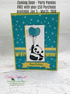 lemon Lime Twist Card base with Bubbles & Fizz Star Bermuda Bay designer paper featuring Party Panda holding 3 balloons and a happy birthday banner Panda Birthday, Kids Birthday Cards, Happy Birthday, Panda Party, Butterfly Cards, Animal Cards, Card Tags, Kids Cards, Cute Cards