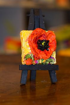 Mini 2x2 inch Mini Red Poppy and Mini Easel by OriginalsbyParis