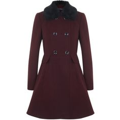 Miss Selfridge Faux Fur Collar Button Coat (160 CAD) ❤ liked on Polyvore featuring outerwear, coats, burgundy, women coats, burgundy coat, purple coat and miss selfridge