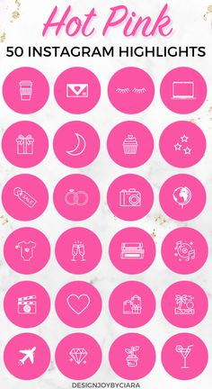 Use these hot pink Instagram highlight covers to create a cohesive and pretty Instagram account - perfect for travel bloggers, lifestyle bloggers, influencers, mom bloggers and so much more   instagram highlight covers   instagram templates   canva templates   instagram story designs   instagram stories   instagram feed   instagram story covers   instagram icons   Instagram highlight icons #instagramhighlights #instagramcovers #pinkhighlighticons Pink Instagram, Instagram Feed, Instagram Story, Swatch, Make Up Organizer, Pink Highlights, Thing 1, Instagram Templates, Instagram Highlight Icons