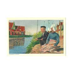 Volendam Postcard, Photochromic, Collection Emna Serie 380 - 399, Holland Netherlands, Dutch Child Folk Costume, Color Card