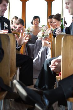Wedding party fun on the trolley on the way to the chapel! Shannon Christopher Photography