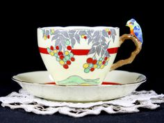 Parrot Handled Grafton Teacup and Saucer, Rare BAJ & Sons Tea Cup, Made in England 12796