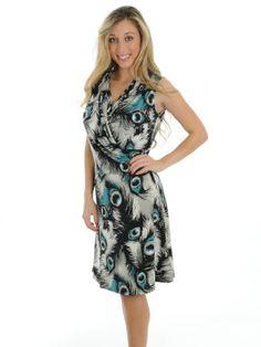 f1ba65da541 Womens Beautiful Faux Wrap Dress Peacock Feather Print Sleeveless New York    Co « Clothing Impulse