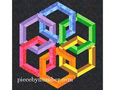 Hexadaisy paper pieced quilt medallion pattern PDF INSTANT DOWNLOAD