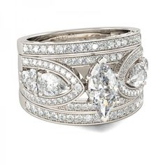 3PC Marquise Cut Created White Sapphire Rhodium Plating Sterling Silver Women's Ring