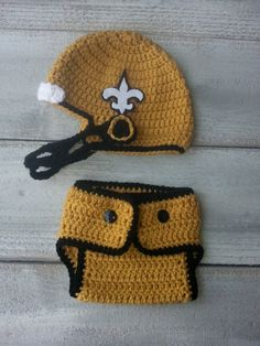 New Orleans Saints Inspired Crochet Helmet by foryouandmedesigns