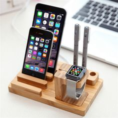 FLOVEME Bamboo Charging Dock Station Bracket Cradle Mobile Phone Charger Stand Holder For iPhone7 6 6S Plus 5 5S For Apple Watch