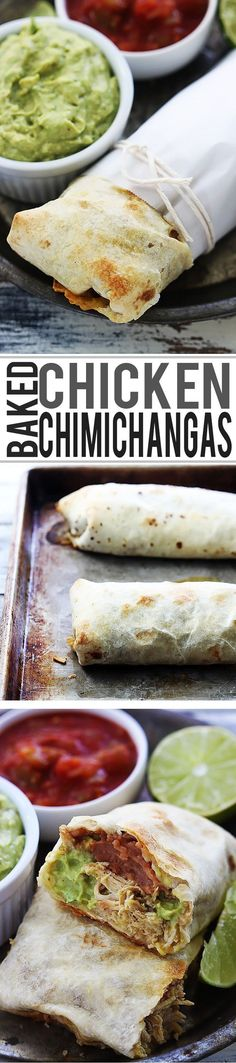 Crispy, healthy baked (not fried!) chicken chimichangas.