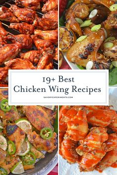 These are the best homemade chicken wings! From sweet to spicy, all of these hom… These are the best homemade chicken wings! From sweet to spicy, all of these homemade chicken wings are delicious and perfect for game day or ANY day! Chicken Wing Marinade, Best Chicken Wing Recipe, Jerk Chicken Wings, Cooking Chicken Wings, Parmesan Chicken Wings, Chicken Wing Sauces, Smoked Chicken Wings, Grilled Chicken Wings, Chicken Wing Recipes