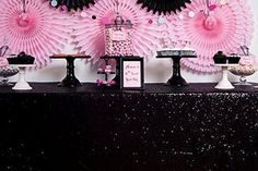 Large Sequin Tablecloth - Lots of colours available (90''*156'')-Black