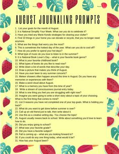 31 August Journaling Prompts + Free Printable August Journal Prompts, Journal Writing Prompts, Bullet Journal Ideas Pages, My Journal, Bullet Journal Inspiration, February Journal, Writing Inspiration, Start Writing, Writing Tips