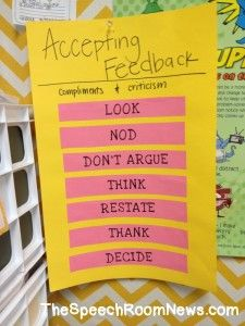 Accepting Feedback: Activities for teaching Social Skills for accepting compliments and critiques . From TheSpeechRoomNews.com