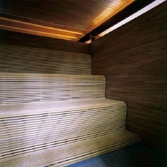 Love the slated the flow of the timber slatted benching!