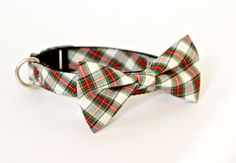 Christmas holiday Pet Bow tie Collar Plaid White Red on Etsy, $29.00